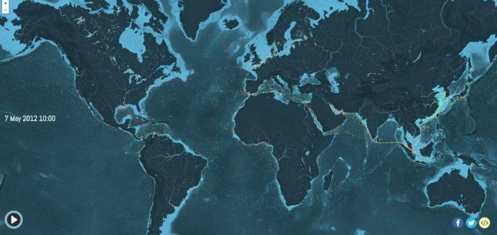 Визуализация глобального судоходного трафика