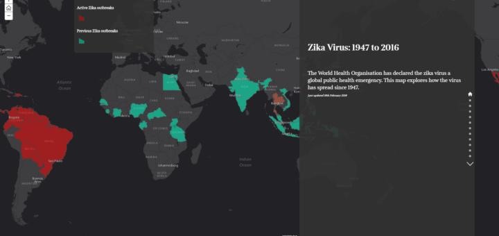 Карта распространения вируса Зика.
