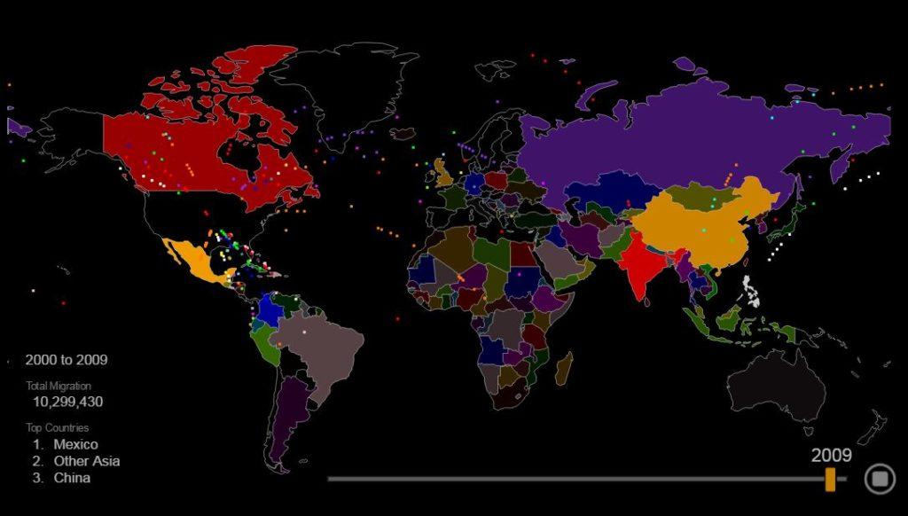 Интерактивная карта иммиграции в США