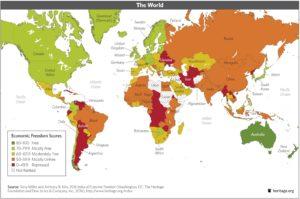 World Economic Freedom Scores, 2016