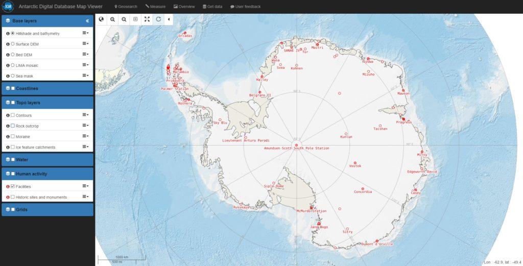 Карта Антарктиды