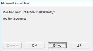 Неверное количество параметров
